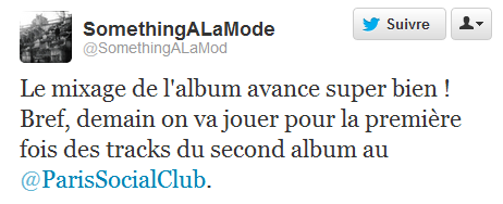 salm2lptwitter Le nouvel album des Something A La Mode avance à grands pas